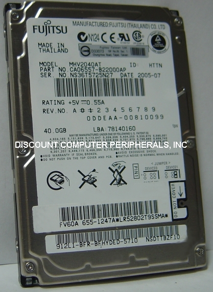 MHV2040AT Fujitsu 40GB IDE 2.5 Hard Drive PN CA06557-B22000AP