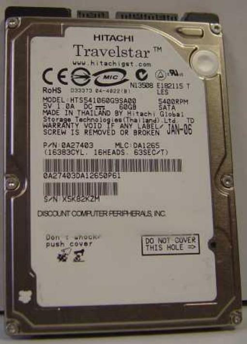 Hitachi HTS541060G9SA00