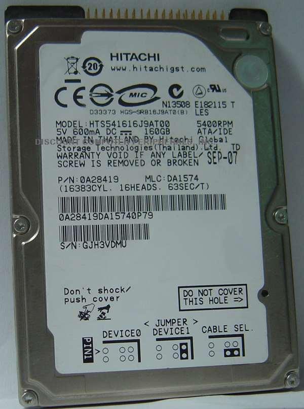 Hitachi HTS541616J9AT00