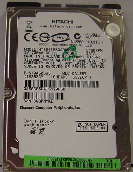 Hitachi HTS541680J9SA00