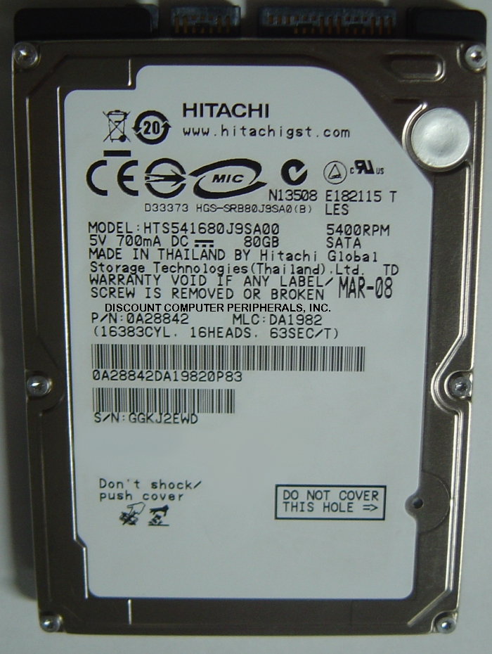 Hitachi HTS541680J9SA00_NEW
