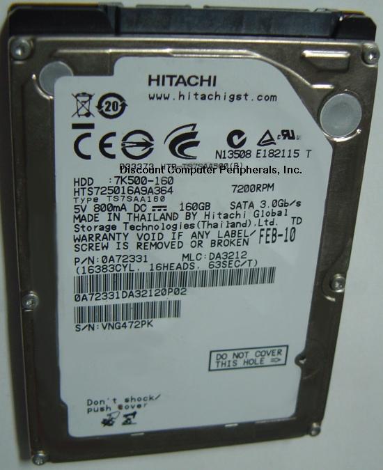 Hitachi HTS725016A9A364