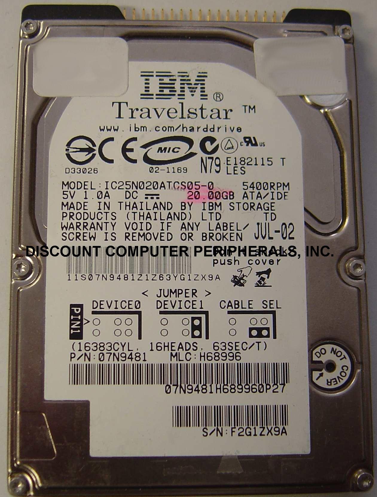Ibm IC25N020ATCS05-0