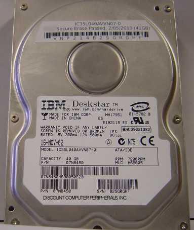 Ibm IC35L040AVVN07-0