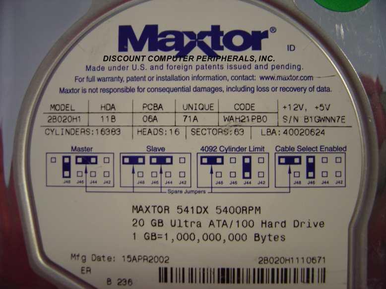 Maxtor 2B020H1